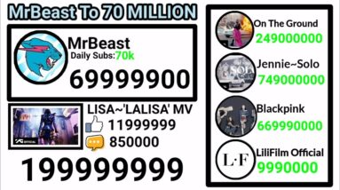 MrBeast To 70 MILLION | LALISA TO 200 MILLION LIVE SUB/VIEW COUNT #lalisa